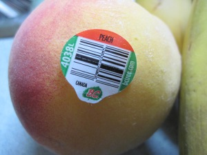 Peach with sticker