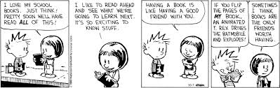 Calvin and Hobbes comic strip about books