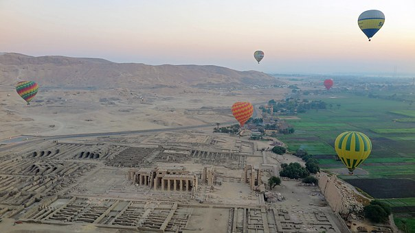 hot air balloons over Luxor Egypt