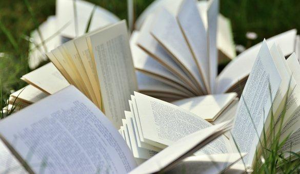 open books, grass