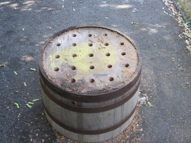 Half barrel drainage holes