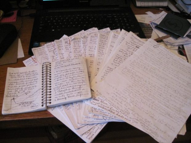 manuscript and notebook She Who Comes Forth work in progress