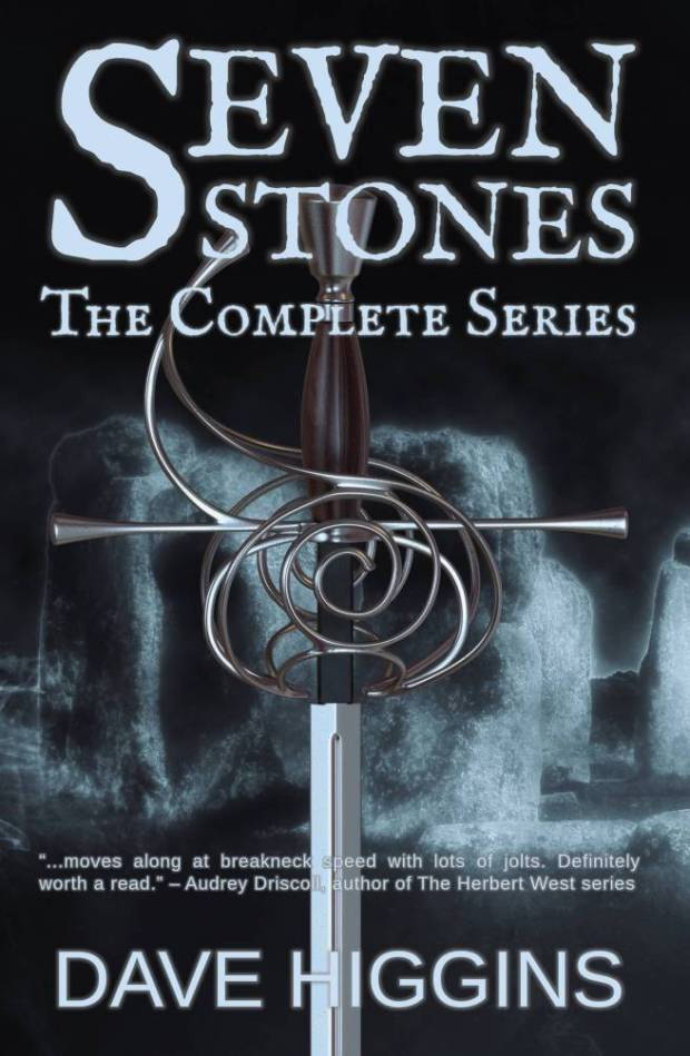 Book Cover for Seven Stones The Complete Series showing a rapier superimposed over standing stones
