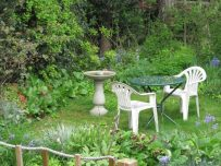 Back garden, spring, bird bath, ugly white chairs