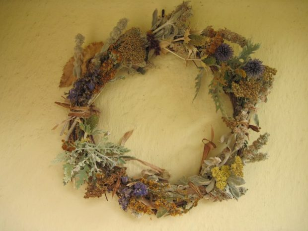 Wreath made from dead flower stalks