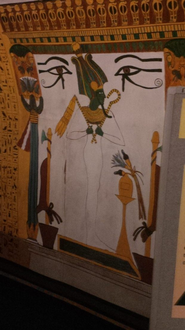 Osiris image from replica of Sennedjem tomb RBCM Egypt exhibit 2018