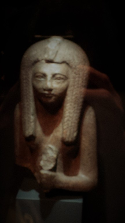 Stone sculpture of head of unknown queen from RBCM Egypt exhibit.