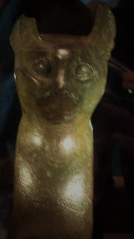 Bronze cat statue from RBCM Egypt exhibit.