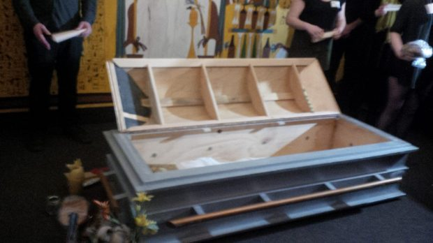 Mock ancient Egyptian funeral in the RBCM Egypt exhibit