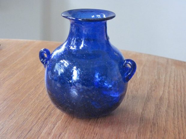 Cobalt glass pot with small handles, Baladi glass from RBCM Egypt exhibit shop