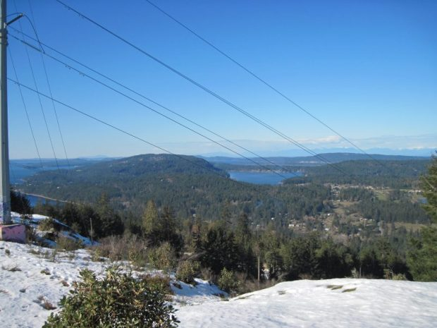 View looking north east from Mt Erskine area, Salt Spring Island, March 5, 2019 near hydro transmission line