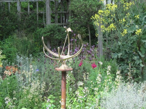 Brass sundial, back garden, kale tree, arugula and lavender in bloom, May 2019