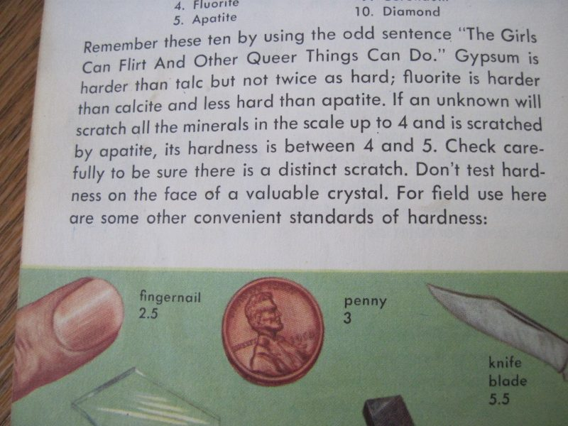 Page from Rocks and Minerals guide on hardness testing