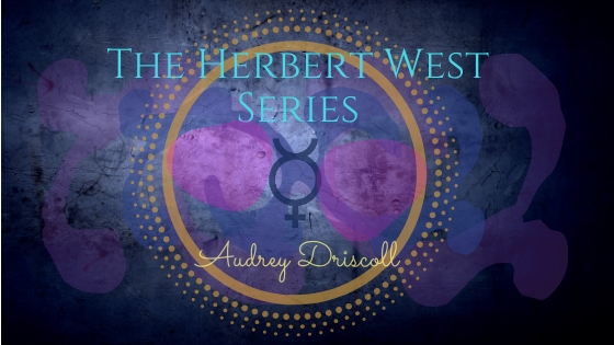 The Herbert West Series blog header, blue, purple, and pink with Mercurius symbol