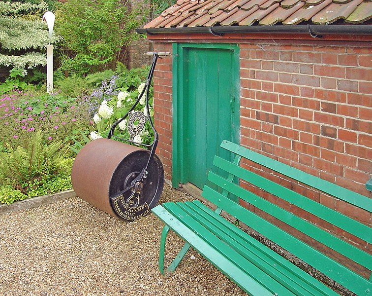 The garden roller at Hoveton Hall gardens, Hoveton, Norfolk