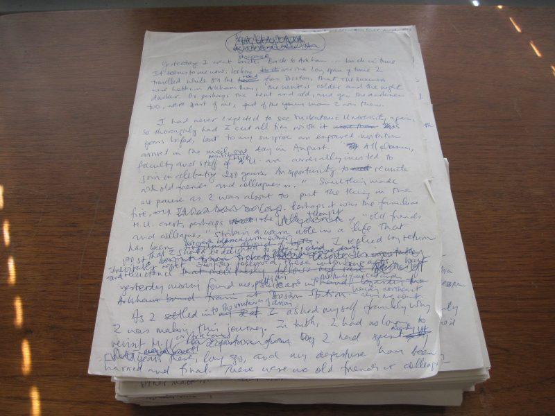 Handwritten manuscript of The Friendship of Mortals