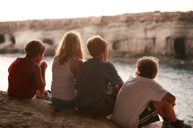 Group of children kids backs
