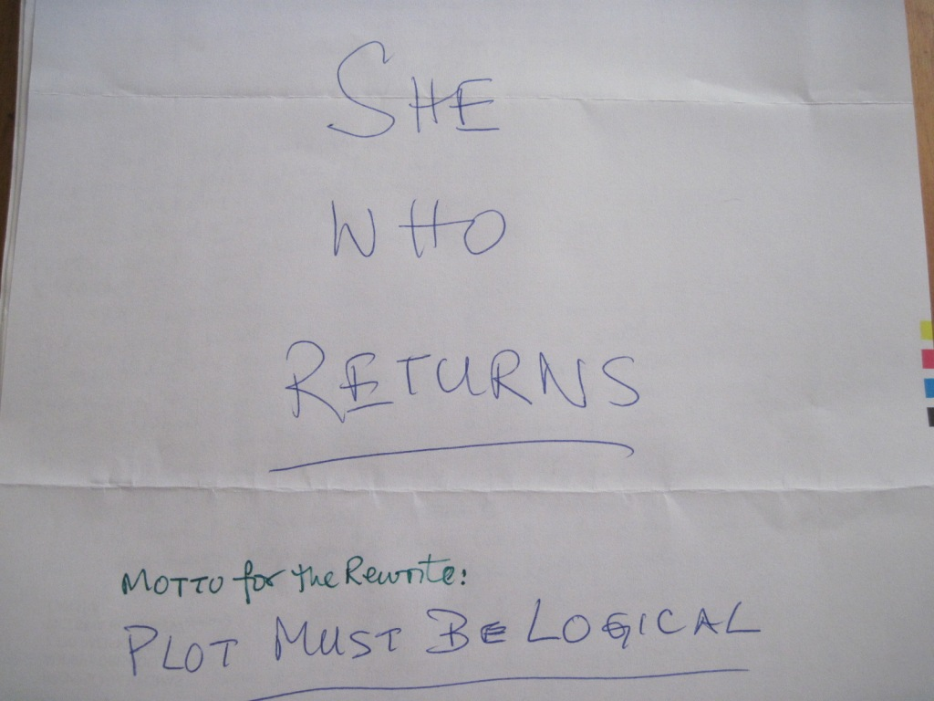 Handwritten title page for She Who Returns manuscript