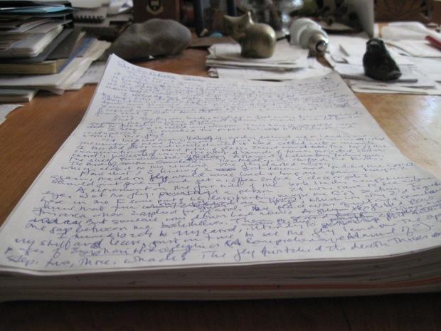 Handwritten first draft manuscript of She Who Returns